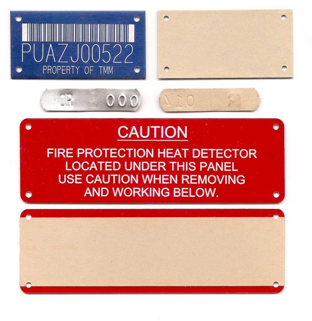 adhesive backed aluminum tags