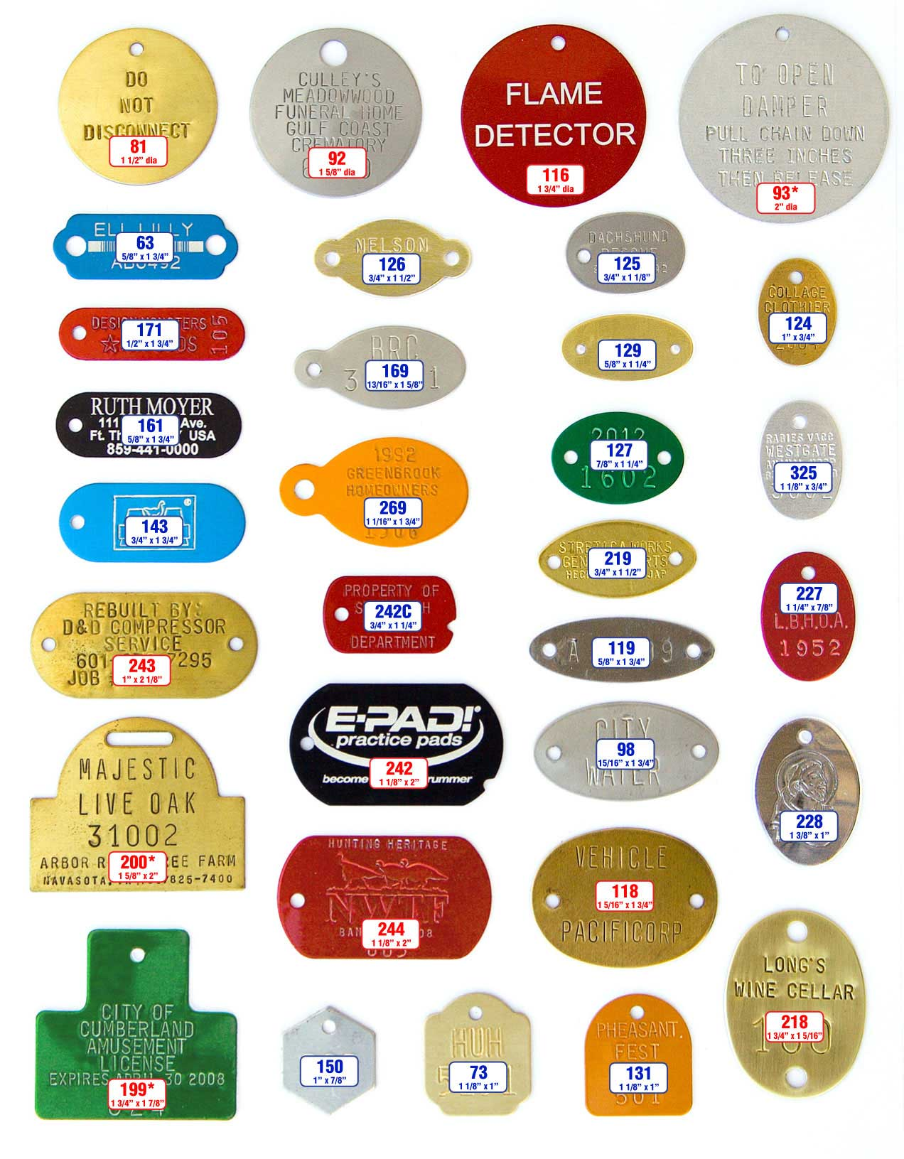 round and oval tags