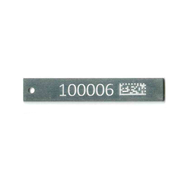 text and barcode on aluminum tag