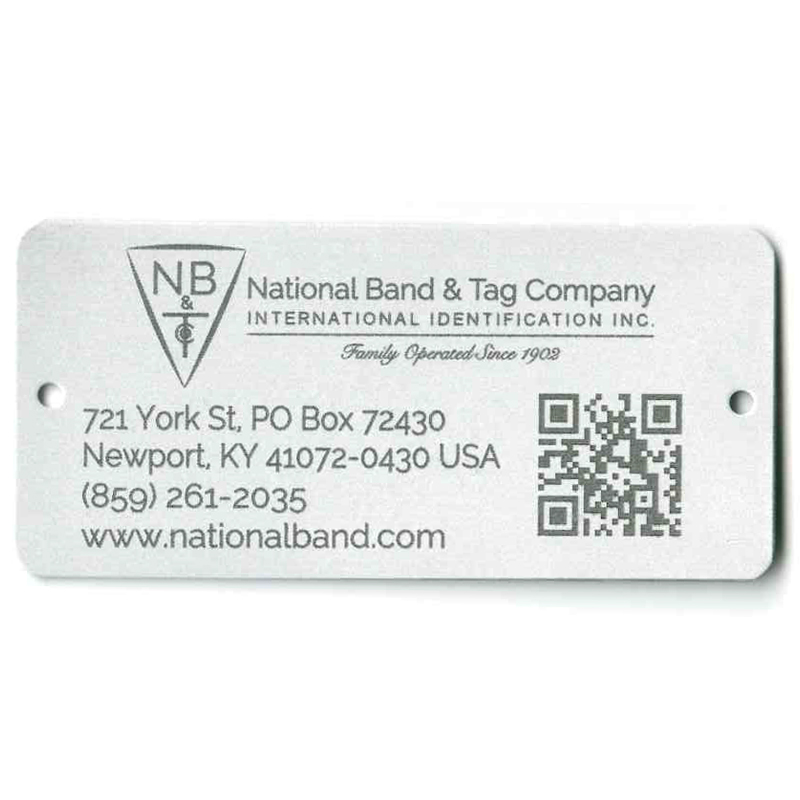 text and logo and barcode on aluminum tag