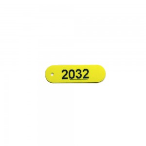 yellow plastic tag