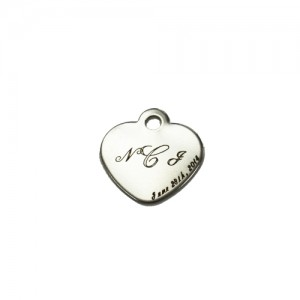 laser etched heart charm
