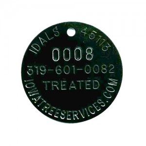 arched text stamped tag