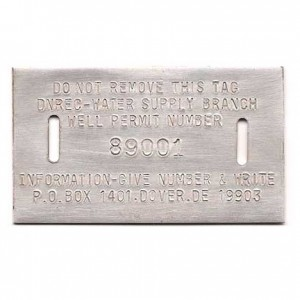 aluminum well tag