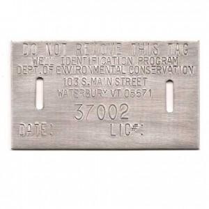 aluminum well permit tag