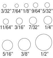 tag hole sizes