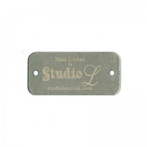 stainless steel tag engraved with logo