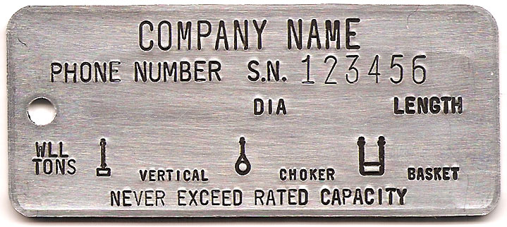 single leg with serial number wire rope tag
