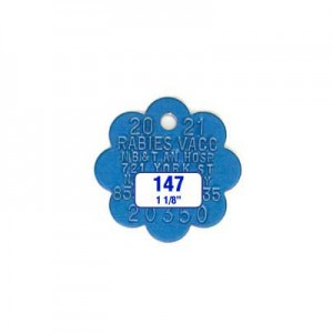 Blue Rosette Rabies Tag Style 147