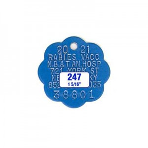 Blue Rosette Rabies Tag Style 247