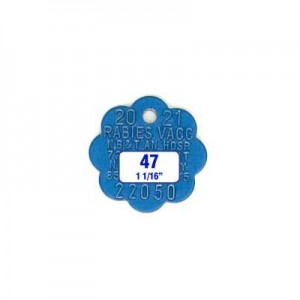 Blue Rosette Rabies Tag Style 47