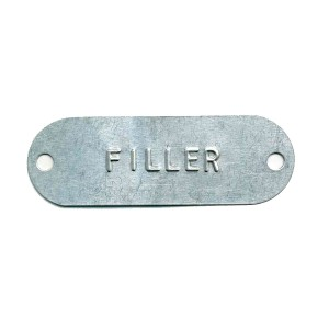 thin oblong embossed tag