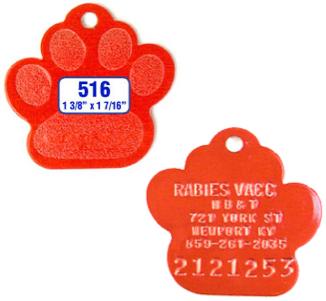 paw print dog tag