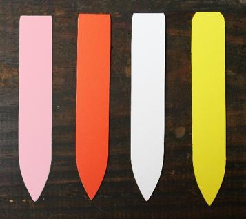 plant labels vinyl, pink, orange, white, yellow