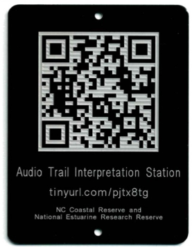 educational trail tag with QR Code