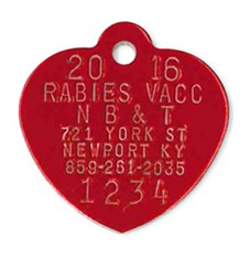 Recommended style of the year red heart rabies tag
