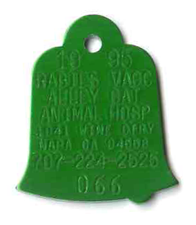 hasco bell with dinger. green bell rabies tag