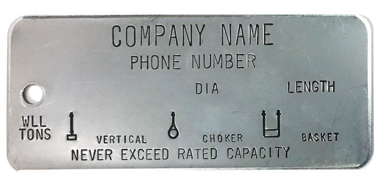 stainless steel, single leg, wire rope tags