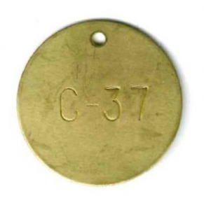 numbered round brass tag