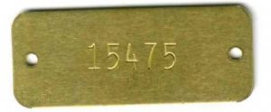 rectangle brass tag with a number