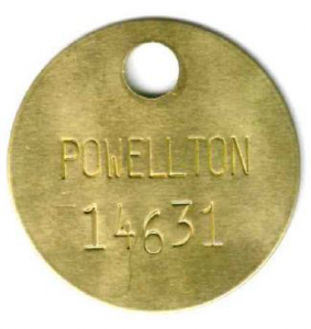 brass power pole tag with extra large hole