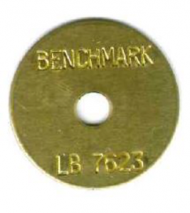 round brass tag survey tag