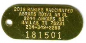 rabies vacc brass tag
