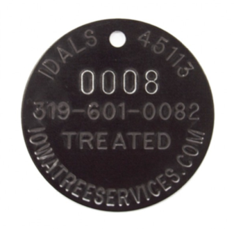 tree tag with arc text