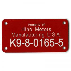 Asset tag for motor parts