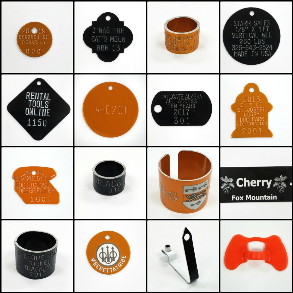 orange and black aluminum tags