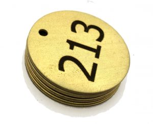 stock and lase on brass tags