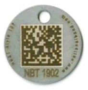 round stainless steel tag with barcode