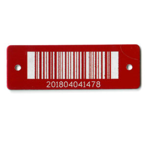 red aluminum bar coded tag