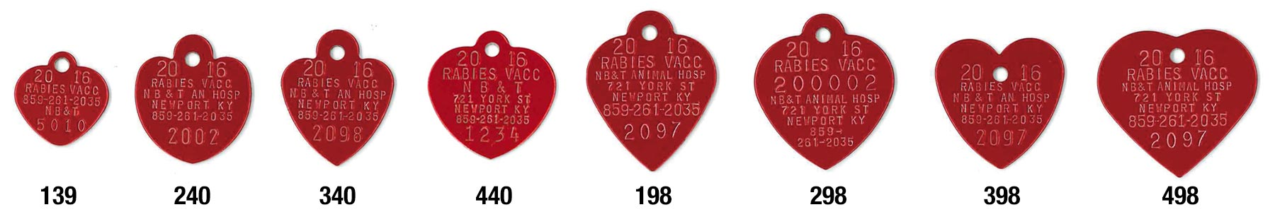 2020 rabies tags red hearts
