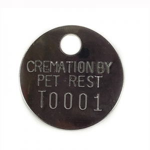 shiny cremation tag