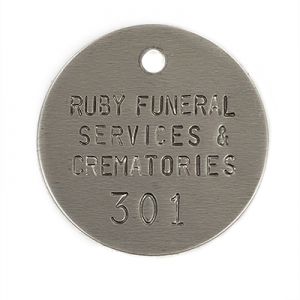 crematory tag with serial number