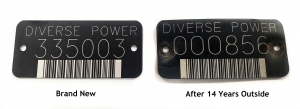 Power Pole Tag in UV stable black aluminum