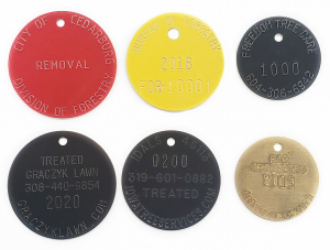 curved text on round tags tree tags