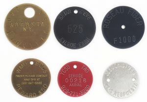 radial text on round tags for key chains