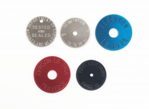round tags with radial text, survey tags