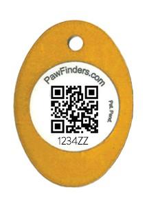 Paw Finders 2022 rabies tags - orange oval