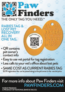 2022 rabies tags orange ovals and paw finders